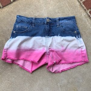 Justice shorts pink white and blue